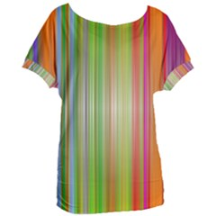 Rainbow Stripes Vertical Colorful Bright Women s Oversized Tee by Mariart