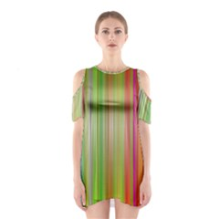 Rainbow Stripes Vertical Colorful Bright Shoulder Cutout One Piece by Mariart