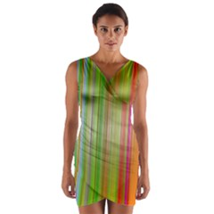 Rainbow Stripes Vertical Colorful Bright Wrap Front Bodycon Dress