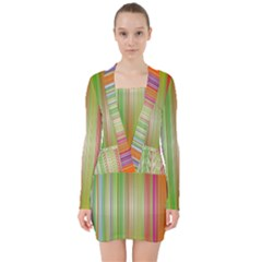 Rainbow Stripes Vertical Colorful Bright V Neck Bodycon Long Sleeve Dress