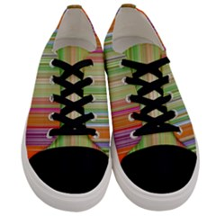 Rainbow Stripes Vertical Colorful Bright Men s Low Top Canvas Sneakers
