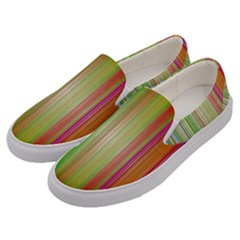 Rainbow Stripes Vertical Colorful Bright Men s Canvas Slip Ons by Mariart