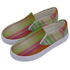 Rainbow Stripes Vertical Colorful Bright Kids  Canvas Slip Ons by Mariart