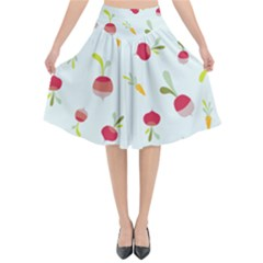 Root Vegetables Pattern Carrots Flared Midi Skirt