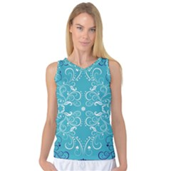 Repeatable Patterns Shutterstock Blue Leaf Heart Love Women s Basketball Tank Top by Mariart