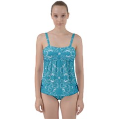 Repeatable Patterns Shutterstock Blue Leaf Heart Love Twist Front Tankini Set by Mariart