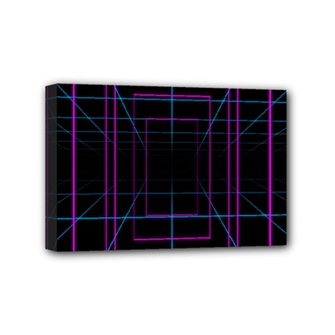 Retro Neon Grid Squares And Circle Pop Loop Motion Background Plaid Purple Mini Canvas 6  X 4  by Mariart
