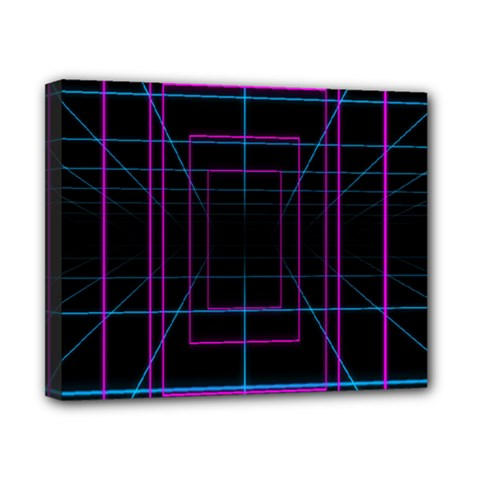 Retro Neon Grid Squares And Circle Pop Loop Motion Background Plaid Purple Canvas 10  X 8  by Mariart