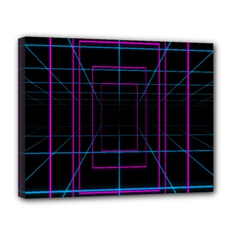 Retro Neon Grid Squares And Circle Pop Loop Motion Background Plaid Purple Canvas 14  X 11  by Mariart