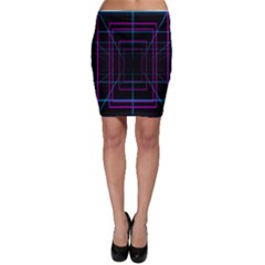 Retro Neon Grid Squares And Circle Pop Loop Motion Background Plaid Purple Bodycon Skirt