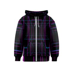 Retro Neon Grid Squares And Circle Pop Loop Motion Background Plaid Purple Kids  Zipper Hoodie by Mariart