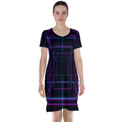Retro Neon Grid Squares And Circle Pop Loop Motion Background Plaid Purple Short Sleeve Nightdress by Mariart