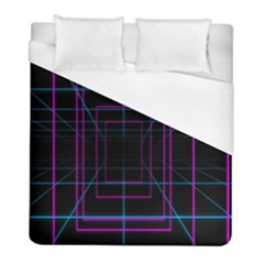 Retro Neon Grid Squares And Circle Pop Loop Motion Background Plaid Purple Duvet Cover (full/ Double Size) by Mariart
