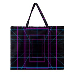 Retro Neon Grid Squares And Circle Pop Loop Motion Background Plaid Purple Zipper Large Tote Bag by Mariart