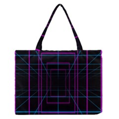 Retro Neon Grid Squares And Circle Pop Loop Motion Background Plaid Purple Zipper Medium Tote Bag by Mariart