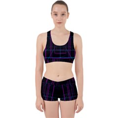Retro Neon Grid Squares And Circle Pop Loop Motion Background Plaid Purple Work It Out Sports Bra Set by Mariart