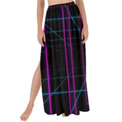 Retro Neon Grid Squares And Circle Pop Loop Motion Background Plaid Purple Maxi Chiffon Tie Up Sarong