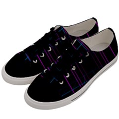 Retro Neon Grid Squares And Circle Pop Loop Motion Background Plaid Purple Men s Low Top Canvas Sneakers by Mariart