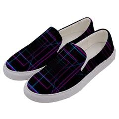 Retro Neon Grid Squares And Circle Pop Loop Motion Background Plaid Purple Men s Canvas Slip Ons by Mariart