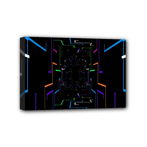 Seamless 3d Animation Digital Futuristic Tunnel Path Color Changing Geometric Electrical Line Zoomin Mini Canvas 6  X 4