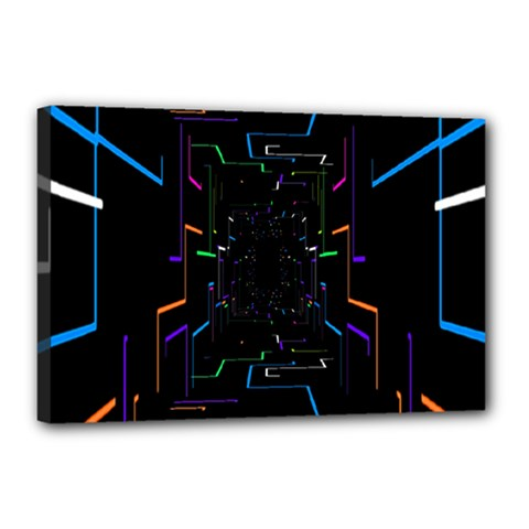 Seamless 3d Animation Digital Futuristic Tunnel Path Color Changing Geometric Electrical Line Zoomin Canvas 18  X 12