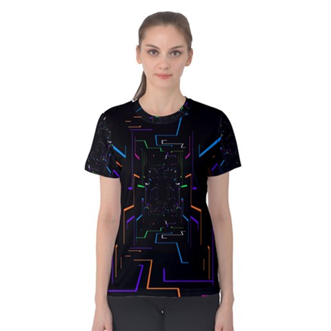 Seamless 3d Animation Digital Futuristic Tunnel Path Color Changing Geometric Electrical Line Zoomin Women s Cotton Tee by Mariart