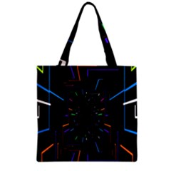 Seamless 3d Animation Digital Futuristic Tunnel Path Color Changing Geometric Electrical Line Zoomin Grocery Tote Bag by Mariart
