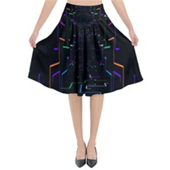 Seamless 3d Animation Digital Futuristic Tunnel Path Color Changing Geometric Electrical Line Zoomin Flared Midi Skirt by Mariart