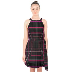 Retro Neon Grid Squares And Circle Pop Loop Motion Background Plaid Halter Collar Waist Tie Chiffon Dress