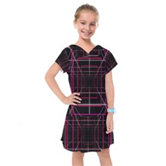 Retro Neon Grid Squares And Circle Pop Loop Motion Background Plaid Kids  Drop Waist Dress by Mariart