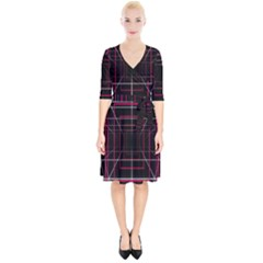 Retro Neon Grid Squares And Circle Pop Loop Motion Background Plaid Wrap Up Cocktail Dress