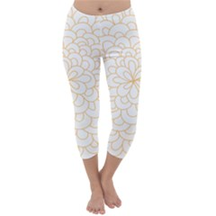 Rosette Flower Floral Capri Winter Leggings  by Mariart