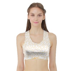 Rosette Flower Floral Sports Bra With Border by Mariart