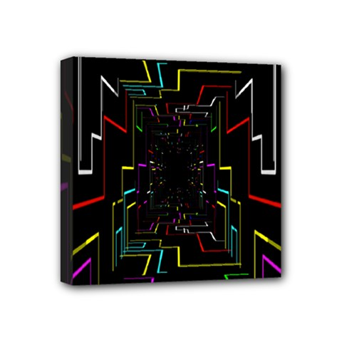 Seamless 3d Animation Digital Futuristic Tunnel Path Color Changing Geometric Electrical Line Zoomin Mini Canvas 4  X 4