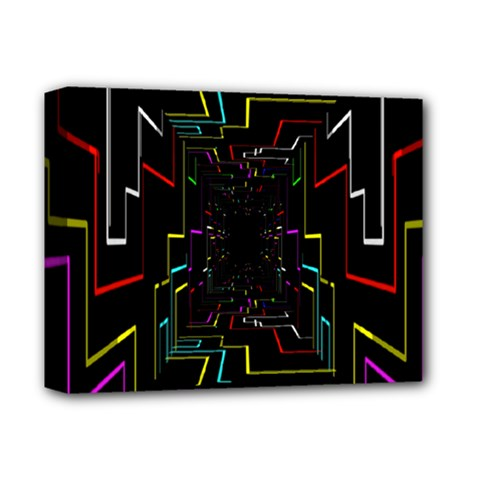 Seamless 3d Animation Digital Futuristic Tunnel Path Color Changing Geometric Electrical Line Zoomin Deluxe Canvas 14  X 11  by Mariart