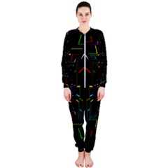 Seamless 3d Animation Digital Futuristic Tunnel Path Color Changing Geometric Electrical Line Zoomin Onepiece Jumpsuit (ladies)