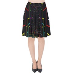 Seamless 3d Animation Digital Futuristic Tunnel Path Color Changing Geometric Electrical Line Zoomin Velvet High Waist Skirt