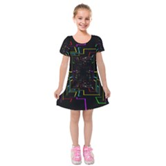 Seamless 3d Animation Digital Futuristic Tunnel Path Color Changing Geometric Electrical Line Zoomin Kids  Short Sleeve Velvet Dress by Mariart