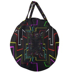 Seamless 3d Animation Digital Futuristic Tunnel Path Color Changing Geometric Electrical Line Zoomin Giant Round Zipper Tote by Mariart