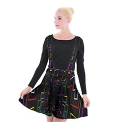 Seamless 3d Animation Digital Futuristic Tunnel Path Color Changing Geometric Electrical Line Zoomin Suspender Skater Skirt by Mariart