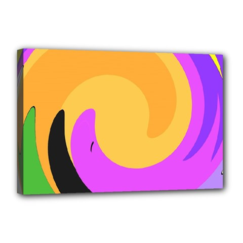 Spiral Digital Pop Rainbow Canvas 18  X 12  by Mariart