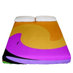 Spiral Digital Pop Rainbow Fitted Sheet (king Size) by Mariart