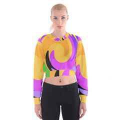 Spiral Digital Pop Rainbow Cropped Sweatshirt by Mariart