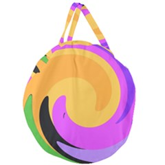 Spiral Digital Pop Rainbow Giant Round Zipper Tote by Mariart