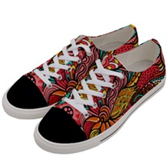 Seamless Texture Abstract Flowers Endless Background Ethnic Sea Art Women s Low Top Canvas Sneakers by Mariart
