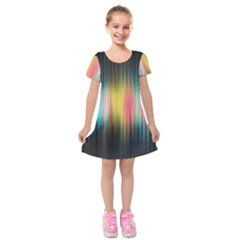 Sound Colors Rainbow Line Vertical Space Kids  Short Sleeve Velvet Dress by Mariart