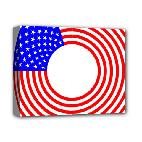 Stars Stripes Circle Red Blue Deluxe Canvas 14  X 11  by Mariart