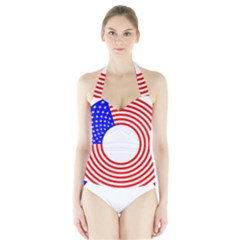 Stars Stripes Circle Red Blue Halter Swimsuit by Mariart