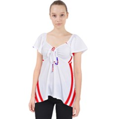 Stars Stripes Circle Red Blue Lace Front Dolly Top