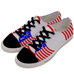 Stars Stripes Circle Red Blue Men s Low Top Canvas Sneakers by Mariart